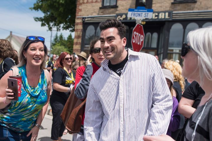 Dan Levy meets with fans during a break from filming Schitt's Creek in Goodwood, Ont. Photo: THE CANADIAN PRESS/ Tijana Martin/CP Images