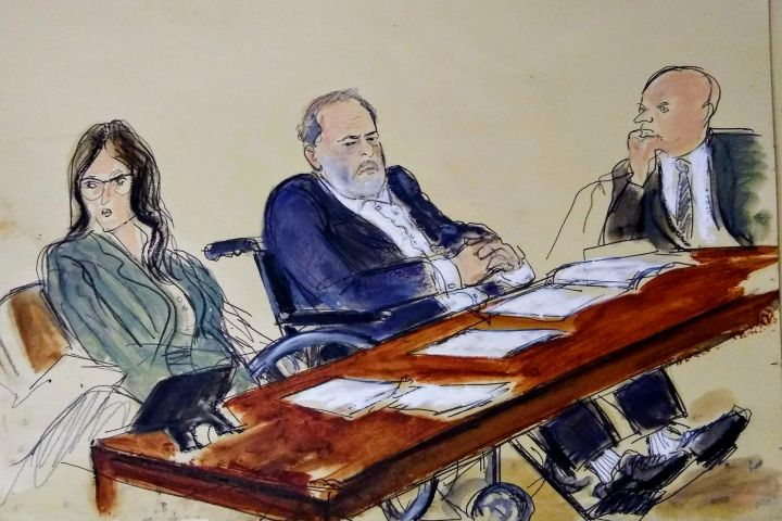 Harvey Weinstein, centre, flanked by his defense attorneys, listens during his sentencing in a Manhattan courtroom, Wednesday, March 11, 2020, in New York. Weinstein was sentenced Wednesday to 23 years in prison for rape and sexual assault. Photo: Courtroom Sketch by Elizabeth Williams via AP/CPImages