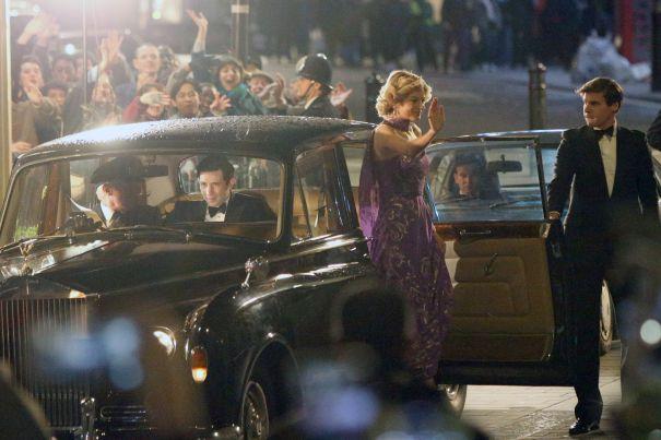 Emma Corrin, Josh O'Connor Film 'The Crown' In London