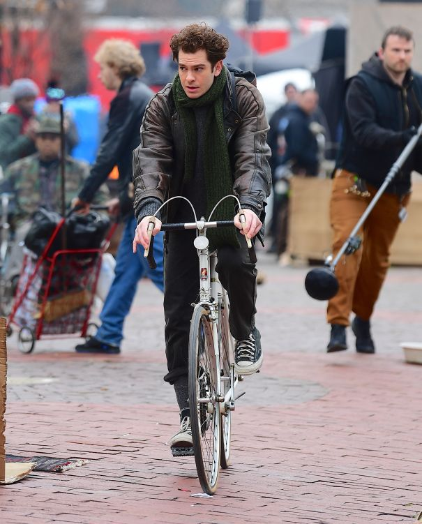 Andrew Garfield Pedals His Bike On Set Of 'Tick, Tick Boom'