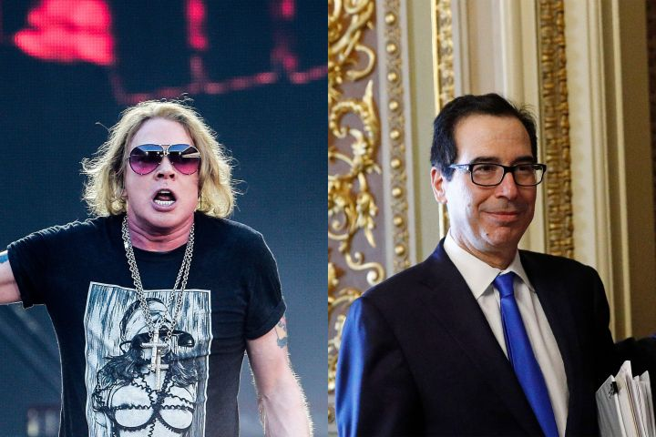 Axl Rose, Steve Mnuchin. Photo: CP Images