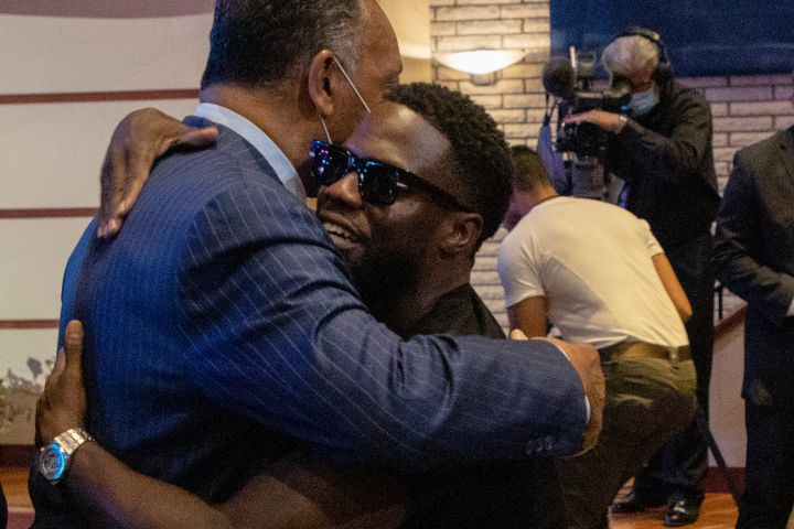 Jesse Jackson hugged Kevin Hart before a memorial service for George Floyd.