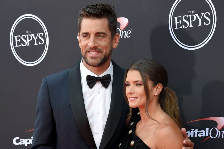 Aaron Rodgers and Danica Patrick. Photo: CPImages
