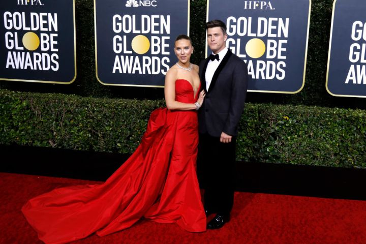 Scarlett Johansson and Colin Jost photographed on the red carpet of the 77th Annual Golden Globe Awards