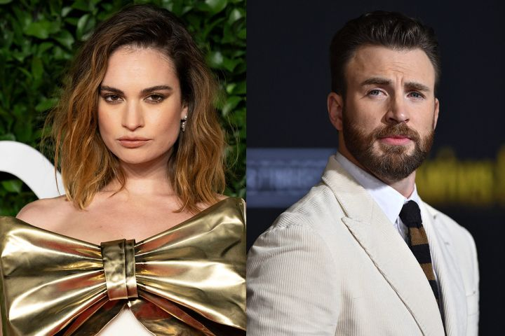 Lily James and Chris Evans. Photos: CPImages