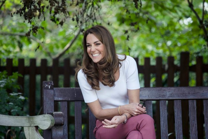 Britain's Kate, the Duchess of Cambridge, reacts, during a visit to Battersea Park, as she met up with mothers, in London, Tuesday, Sept. 22, 2020. (Jack Hill/Pool Photo via AP/CP Images)