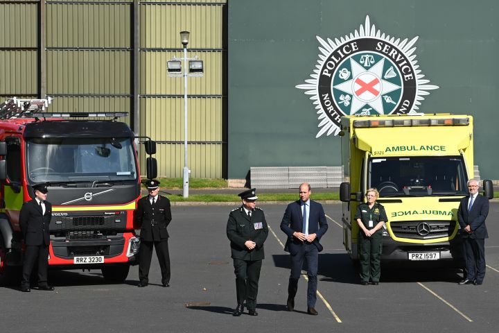 BELFAST, NORTHERN IRELAND – SEPTEMBER 09: Prince William, Duke of Cambridge meets with Chiefs of the PSNI, Fire Service and Ambulance Service, as he attends a PSNI Wellbeing Volunteer Training course to talk about mental health support within the emergency services at PSNI Garnerville on September 09, 2020 in Belfast, Northern Ireland. (Photo by Tim Rooke/Pool/Samir Hussein/WireImage/Getty)