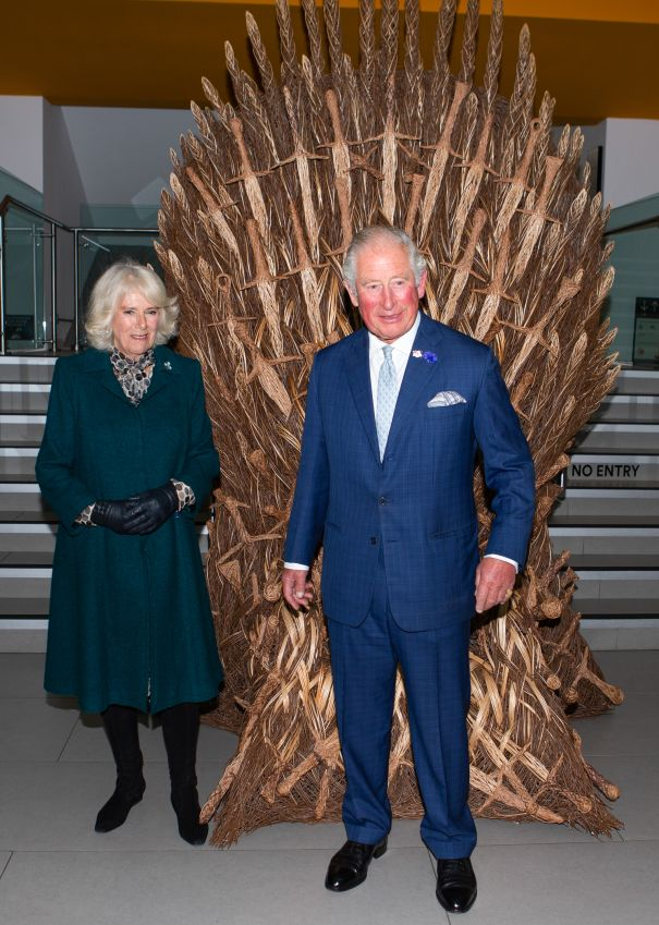 Prince Charles Tries Out The Iron Throne