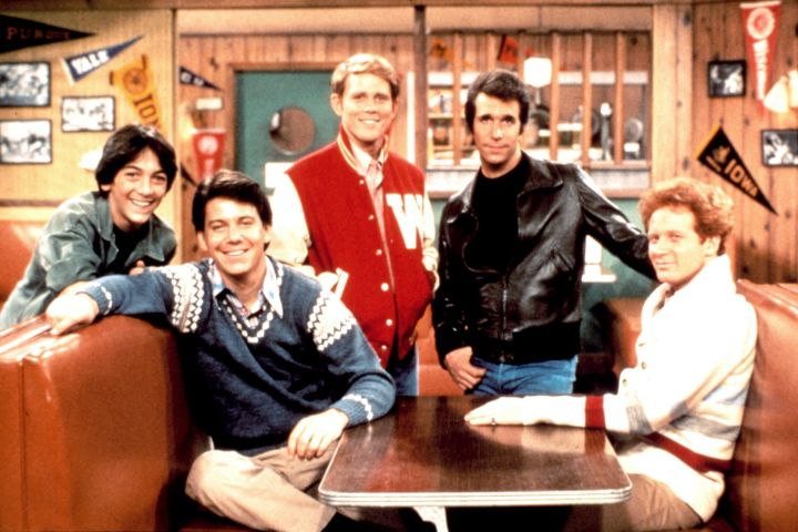 'Happy Days' stars Scott Baio, Anson Williams, Ron Howard, Henry Winkler, Donny Most, 1974-1984 (c)Paramount. Courtesy: Everett Collection.