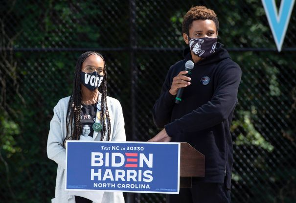 Kerry Washington And Nnamdi Asomugha Support Biden