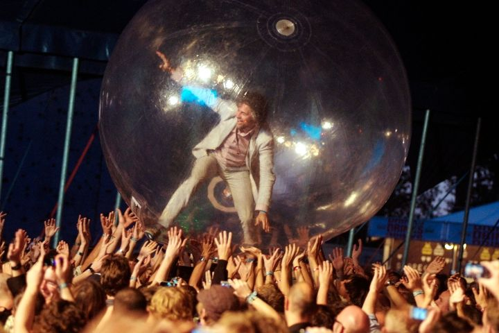 The Flaming Lips perform inside a bubble in 2008 - Getty Images