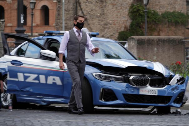 Tom Cruise Films New MI7 Car Stunt Scene In Rome
