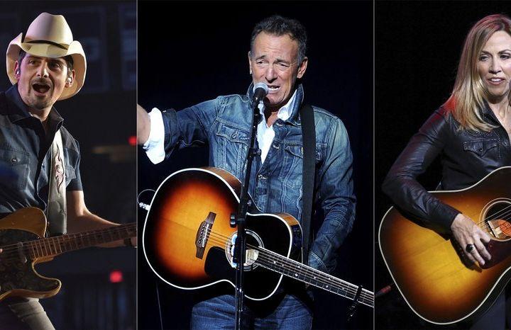 Brad Paisley, Bruce Springsteen, Sheryl Crowe. Photo: AP Photo