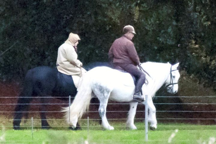 Queen Elizabeth riding at Windsor Castle.