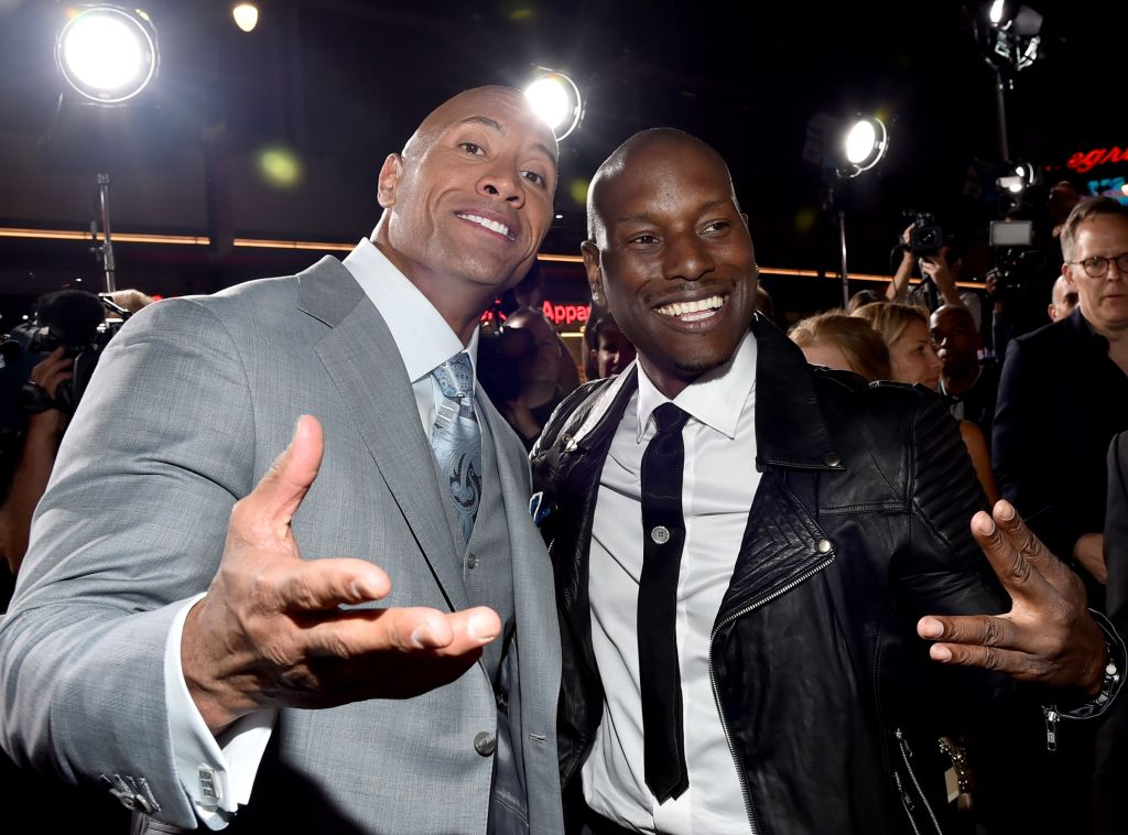 The Rock and Tyrese Gibson. Photo by Alberto E. Rodriguez/Getty Images