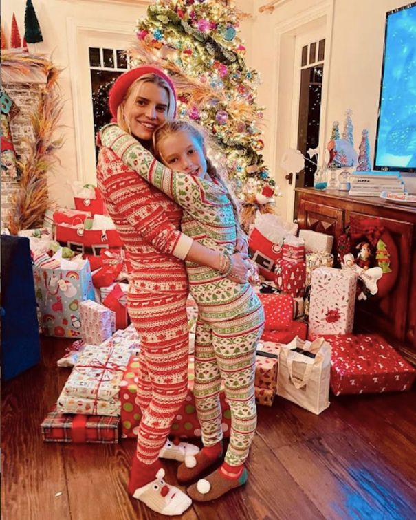 Jessica Simpson And Daughter Wear Matching Christmas Jammies