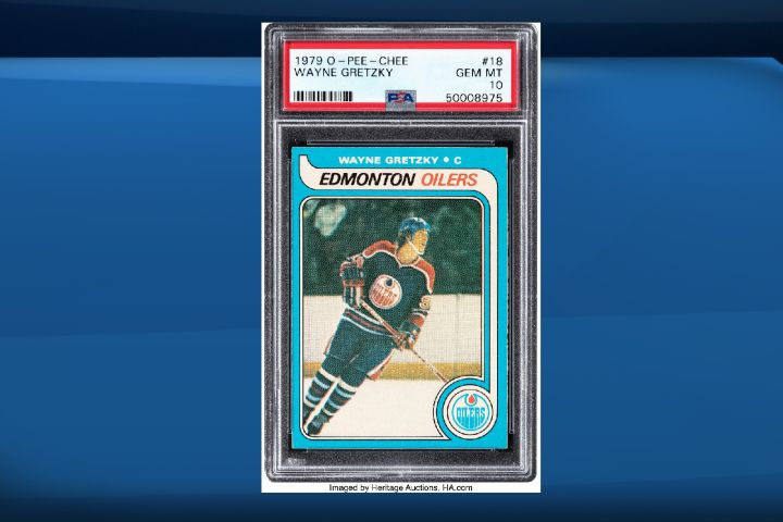 A Wayne Gretzky rookie card is shown in this image provided by Heritage Auctions.