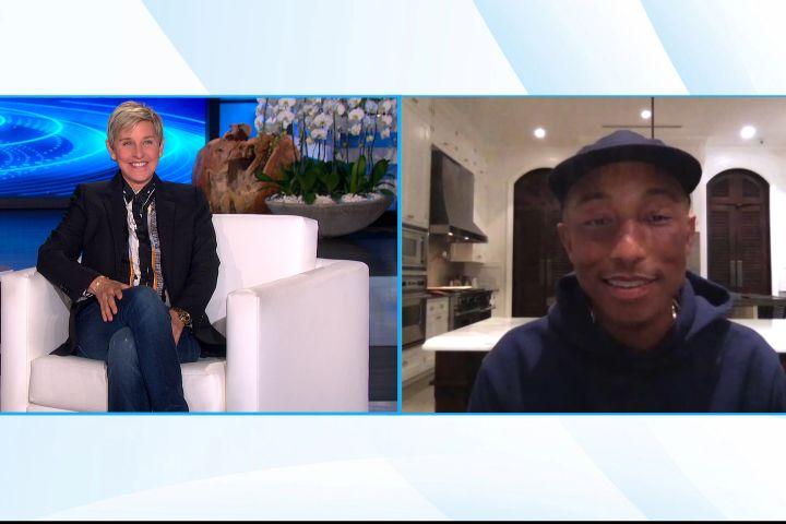 Ellen DeGeneres, Pharrell. Photo by Michael Rozman/Warner Bros.