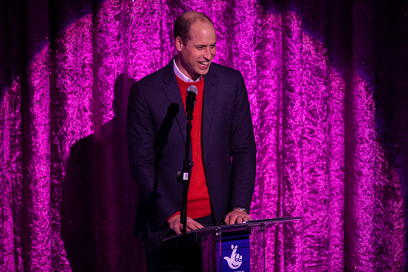 LONDON, ENGLAND - DECEMBER 11: Prince William, Duke of Cambridge gives a speech on stage as he attends a special pantomime performance at London's Palladium Theatre, hosted by The National Lottery, to thank key workers and their families for their efforts throughout the pandemic on December 11, 2020 in London, England. (Photo by  Aaron Chown - WPA Pool/Getty Images)