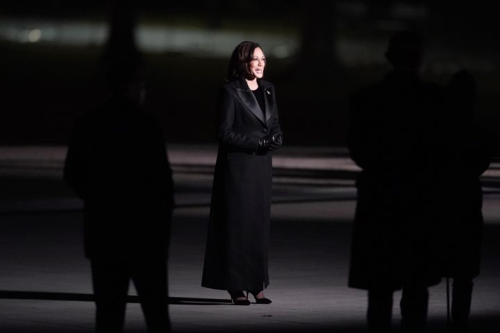 """U.S. Vice President Kamala Harris addresses the nation at the """"Celebrating America"""" event at the Lincoln Memorial after the inauguration of Joe Biden as the 46th President of the United States in Washington, DC, January 20, 2021. Photo: Joshua Roberts/ AFP via Getty Images"""