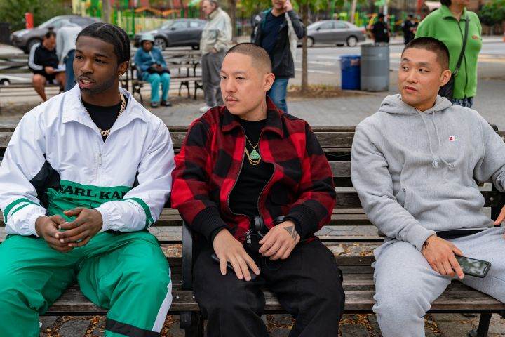 Pop Smoke, Eddie Huang and Taylor Takahashi. Photo: Nicole Rivelli / Focus Features