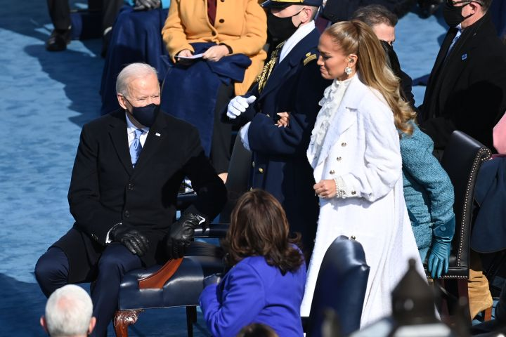 Joe Biden and Jennifer Lopez. Photo: SAUL LOEB/POOL/EPA-EFE/Shutterstock