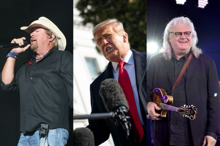 Toby Keith, Donald Trump, Ricky Skaggs. Photo: Getty Images
