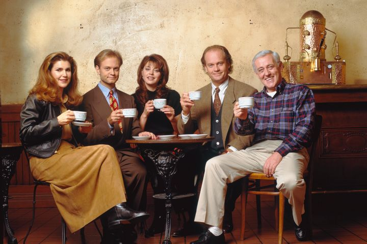 Peri Gilpin, David Hyde Pierce, Jane Leeves, Kelsey Grammer and John Mahoney. Photo: Andrew Eccles/NBCUniversal via Getty Images