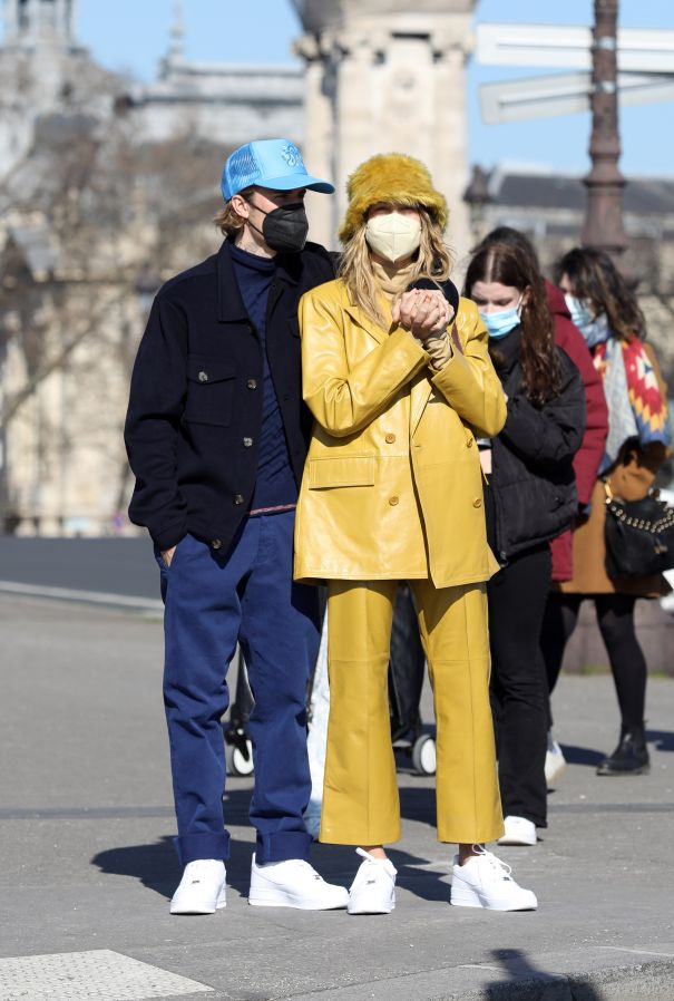Justin And Hailey Bieber On The Street Of Paris
