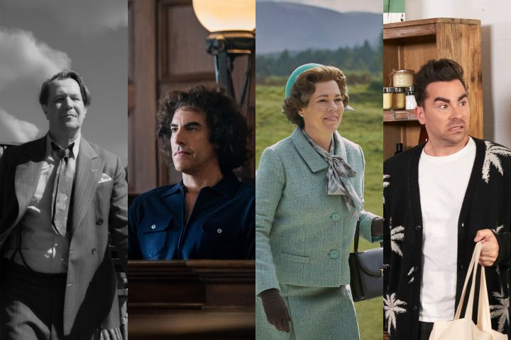 """Mank"", ""The Trial of the Chicago 7"", ""The Crown"" and ""Schitt's Creek"". Photos: Netflix/Shutterstock"