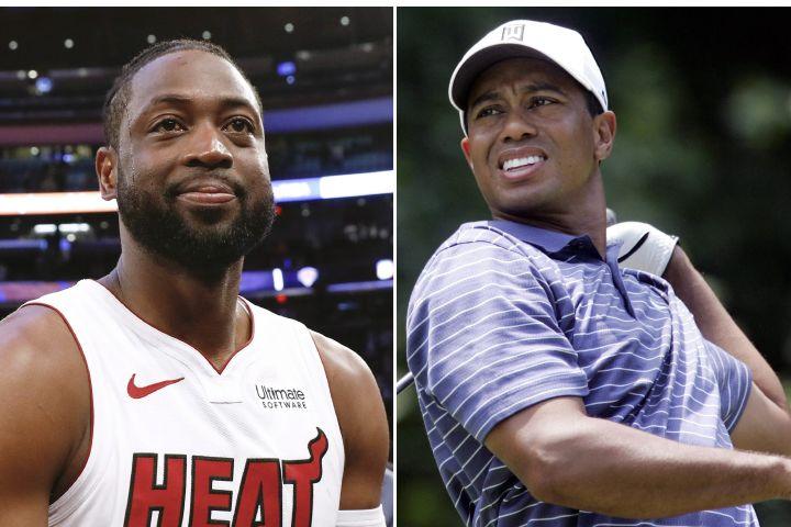 Dwyane Wade, Tiger Woods Photos: AP Photo/Nicole Sweet, Saul Loeb/TNS/ABACAPRESS.COM
