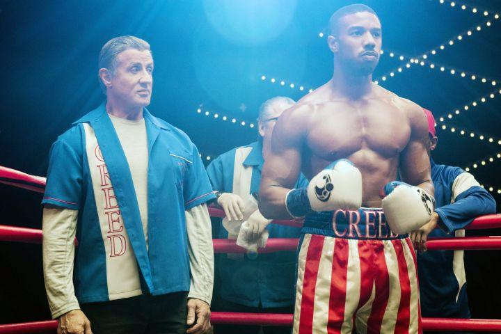 "Sylvester Stallone and Michael B. Jordan in ""Creed II""."