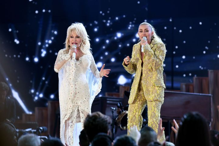 Dolly Parton and Miley Cyrus perform onstage during the 61st Annual GRAMMY Awards at Staples Center on February 10, 2019