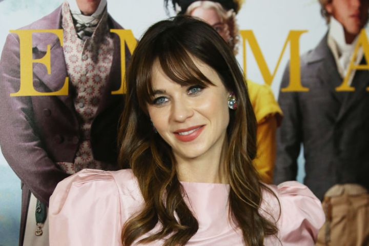 "Zooey Deschanel attends the Los Angeles premiere of Focus Features' ""Emma."""