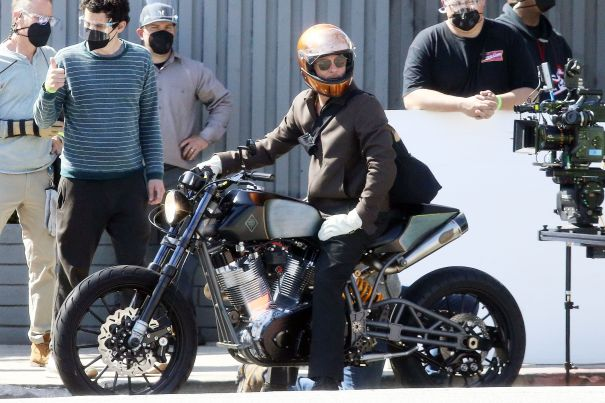 Brad Pitt Rides A Motorcycle On Set Of Commercial