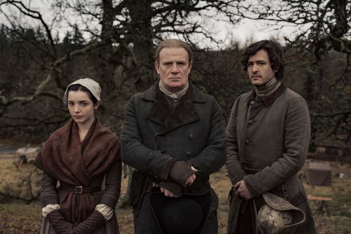 Meet the Christies (L-R): daugther Malva (Jessica Reynolds), patriarch Tom (Mark Lewis) and son Allan (Alexander Vlahos).