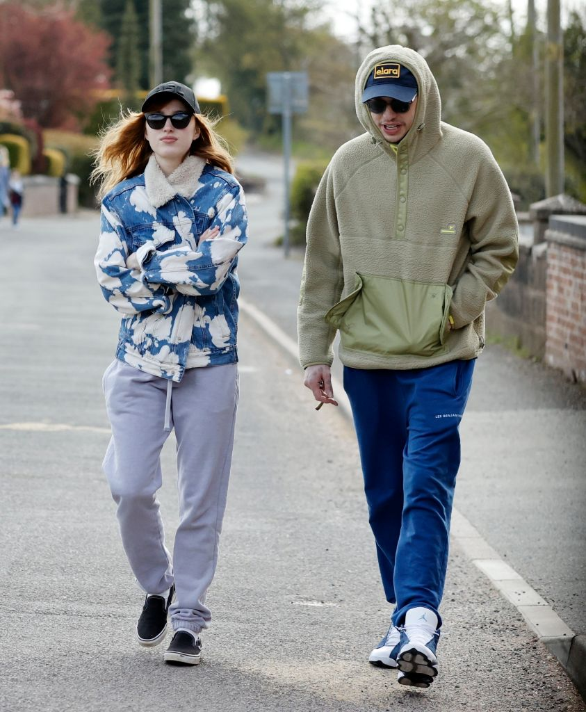 """Pete Davidson and his new girlfriend, """"Bridgerton"""" star Phoebe Dynevor, are seen out on a countryside stroll together. Credit: Backgrid"""