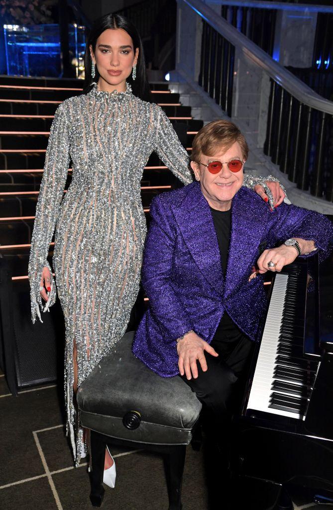 Dua Lipa and Sir Elton John. Photo: David M. Benett/Getty Images for the Elton John AIDS Foundation