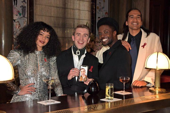 Lydia West, Callum Scott Howells, Omari Douglas and Nathaniel Curtis are having a blast at Elton John's party. Photo: David M. Benett/Getty Images for the Elton John AIDS Foundation)