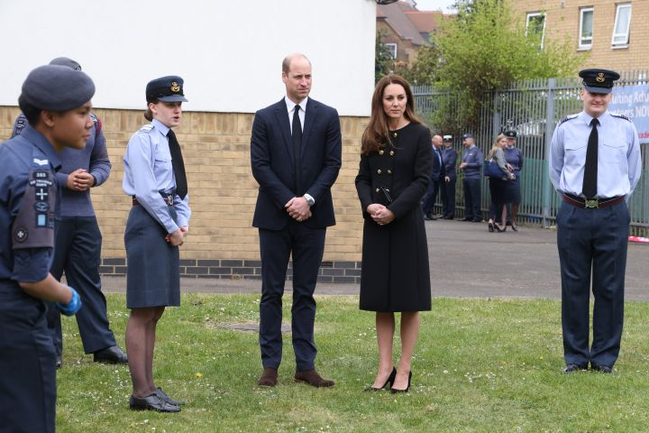 Prince William, Duke of Cambridge and Catherine, Duchess of Cambridge, wearing black as a mark of respect following the Duke of Edinburgh's passing, visit 282 East Ham Squadron, Air Training Corps in East London on April 21, 2021 in London, England. (Photo by Ian Vogler-WPA Pool/Getty Images)