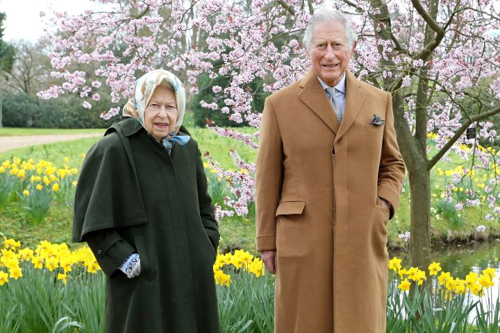Queen Elizabeth II and Prince Charles, Prince of Wales pose for a portrait in the garden of Frogmore House