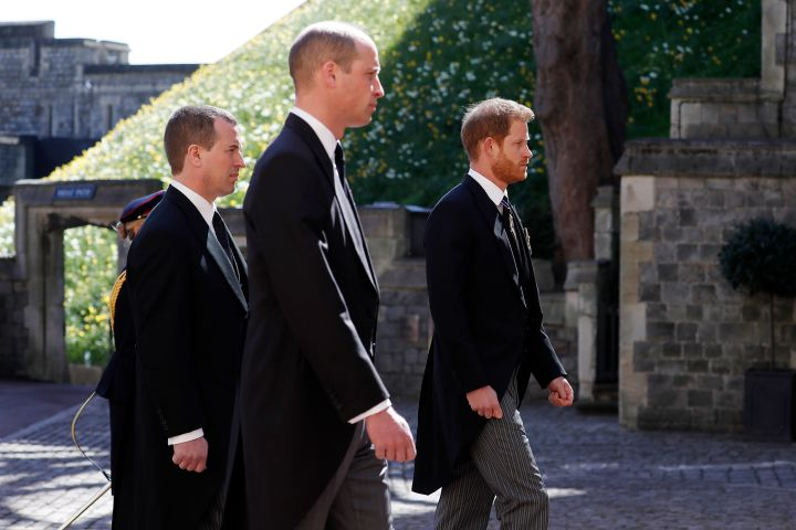 Peter Phillips, Prince William, Duke of Cambridge and Prince Harry, Duke of Sussex. Photo: Alastair Grant/WPA Pool/Getty Images