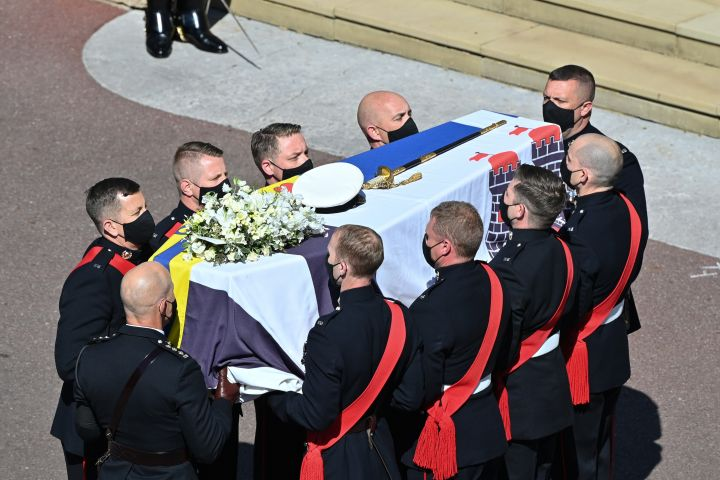 The Duke of Edinburgh's coffin, covered with His Royal Highness's Personal Standard. Photo: Justin Tallis/WPA Pool/Getty Images