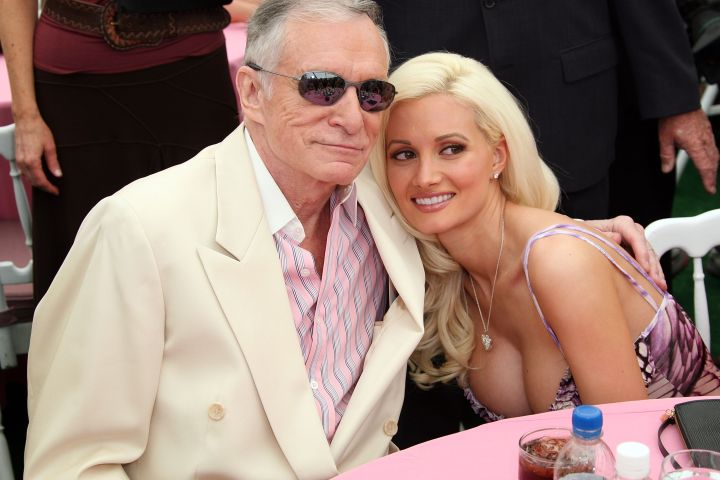 Hugh Hefner and Holly Madison attend the 2007 Playmate of the Year party at the Playboy Mansion.