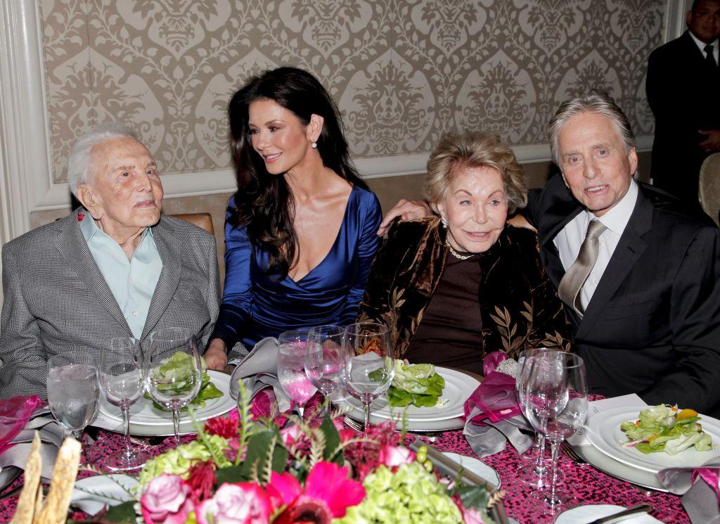 Kirk Douglas, Catherine Zeta-Jones, Anne Douglas, and Michael Douglas Photo: Tibrina Hobson/Getty Images