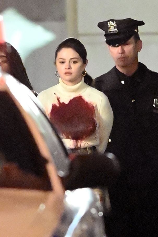 Blood-Covered Selena Gomez Films 'Only Murders In The Building'