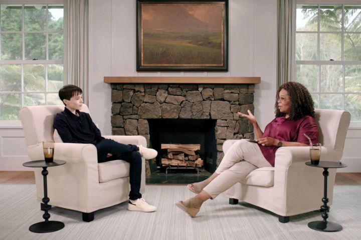 Elliot Page and Oprah Winfrey