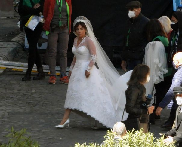 Lady Gaga Is A Beautiful Bride On 'House Of Gucci' Set