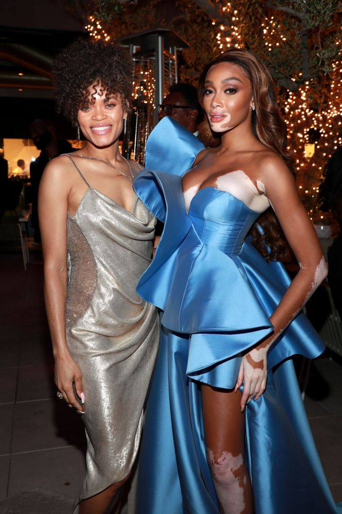 """Andra Day and Winnie Harlow attend Spring Place's Oscars party honouring Andra Day and the cast of """"The United States vs. Billie Holiday"""" on April 25, 2021 in Beverly Hills, California. (Photo by Jerritt Clark/Getty Images for Bassline Management)"""