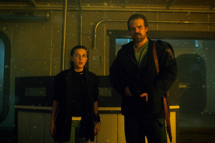 """Millie Bobby Brown and David Harbour in """"Stranger Things"""""""